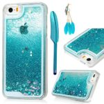 iPhone SE Case,iPhone 5 5S Case – MOLLYCOOCLE Transparent Clear PC Hard Plastic Shell 3D Bling Sparkle Glitter Quicksand and Cute Star Flowing Liquid Cover for iPhone SE/5/5S – Blue